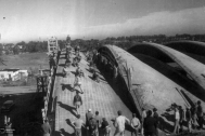 Fábrica TEM S.A., Ing. DIESTE Eladio, Montevidoe, Uy, 1960-1962. Toma de Prueba de Carga. Foto original de Estudio Dieste & Montañez