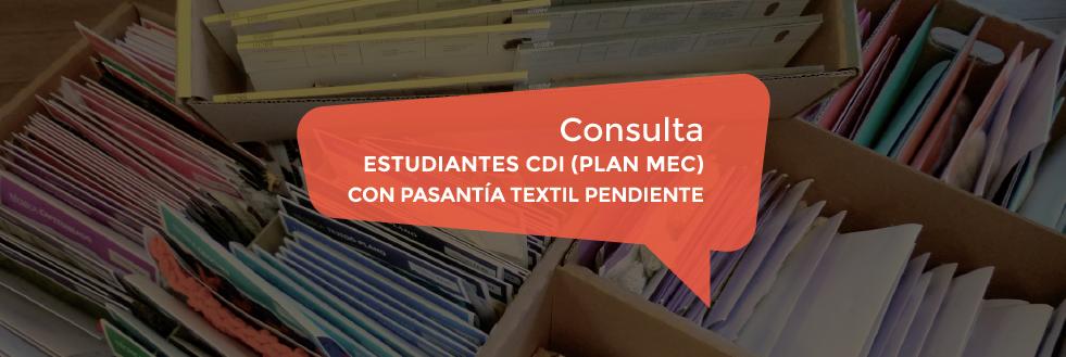 Consulta a estudiantes CDI (Plan MEC) con pasantía textil pendiente