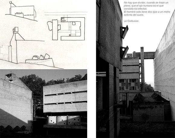 Redibujos a partir de originales de BAKER GEOFFREY, Le Corbusier Análisis de la Forma. Ed. G.Gili. Fotografías tomadas en 2003