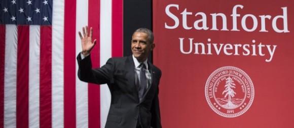 03. Universidad de Stanford. Obama pidiendo mas colaboración contra ciber-ataques en un discurso en la universidad de Stanford. Foto: goo.gl/eN1OBX