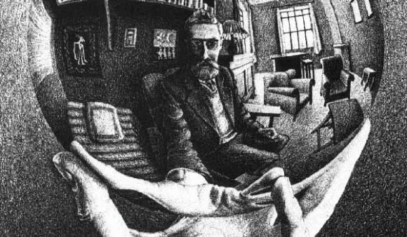 Autorretrato de M.C. Escher. Foto: bit.ly/1MATKHh