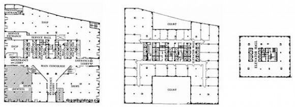 De derecha a izquierda: Planta Baja; planta del piso 8 al 20; planta del piso 28 al 60