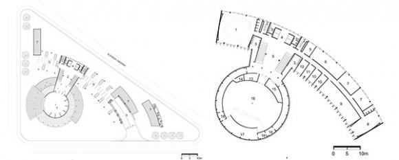 1- Hall 2- Hall escaleras mecánicas 3- Baños 4- Hall ascensores 5- Estacionamiento 6- Rampa de acceso al subsuelo 7- Espejos de agua  Fig 11: Planta baja.  1- Sala do comité A 2- Escalera protegida 3- Baños  4- Hall de ascensores 5- Hall escaleras mecánicas 6- Sala dos escritos 7- Sala 8- Sala do comité B 9- Acervo 10- Delegado 11-Relator 12- Presidente 13- Prensa 14- Despensa 15- Vestuario 16- Sala de conferencias 17- Delegados 18- Sala de apoyo