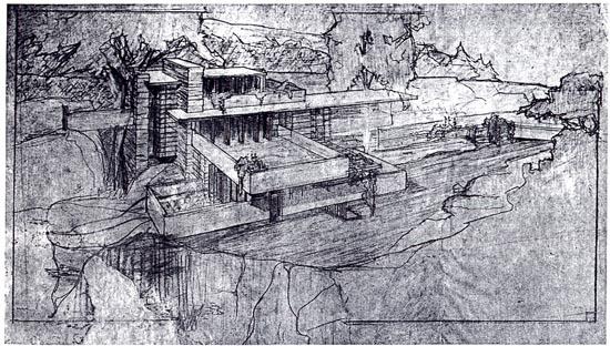 Influencia japonesa en croquis de Wright