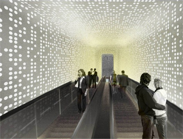 Acceso al edificio – gran escalera mecánica