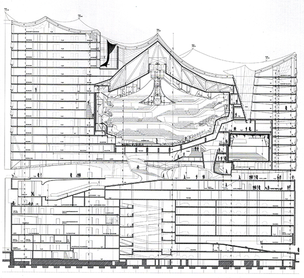 Corte longuitudinal del edificio