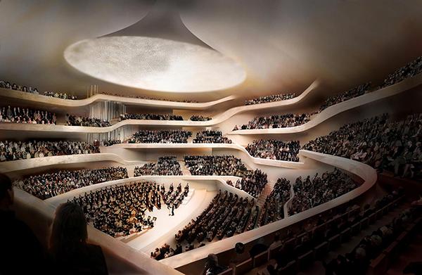 La gran sala de conciertos, corazón del edificio