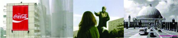 """Fig. 02. El despliegue del cartel de Coca-Cola y Lenin despidiéndose en """"Goob Bye, Lenin!"""" de W. Becker / El Grosse Halle en la adaptación de HBO de la novela ucrónica """"Fatherland"""" de R.Harris."""