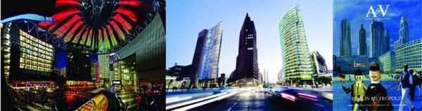 Fig. 05. El interior de la plaza cupulada del Sony Center / Torres en Potsdamer Platz / Portada de A&V N°50.