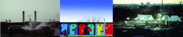 """Fig. 09. Dos coches Trabants chocando en el video de """"One"""" de U2 / East Side Gallery en el Muro de Berlín / """"The Wall"""" de Rogers Waters levantado y derribado sobre la traza del Muro de Berlín en el vacío de la Potsdamer Platz."""