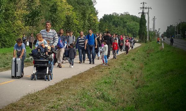 """Foto2: """"La última humillación en su paso por Hungría: caminar 6 km junto a la carretera q lleva a la frontera"""" Principia Marsupia @pmarsupia 15 de septiembre de 2015"""