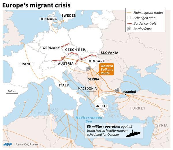 """Foto3: """"Así están ahora mismo los controles de frontera, las vallas y las principales rutas de los refugiados"""" (vía @AFP) Principia Marsupia @pmarsupia 15 de septiembre de 2015"""