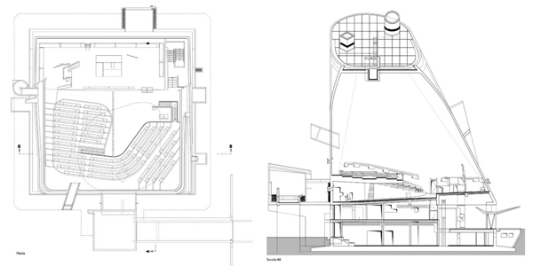 """07. Planta y corte. Foto: extraída del libro """"Piel de hormigón"""", de General de Ediciones de Arquitectura, p.32 y p.33."""