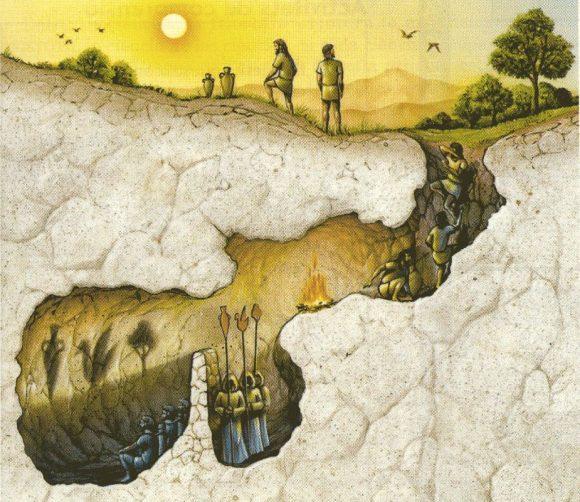 Figura 1. Representación gráfica de la Alegoría de la Caverna de Platón.