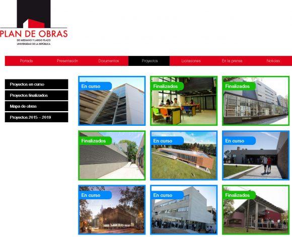 Figura 9: Captura de la web del Plan de Obras de Mediano y Largo Plazo de la UdelaR