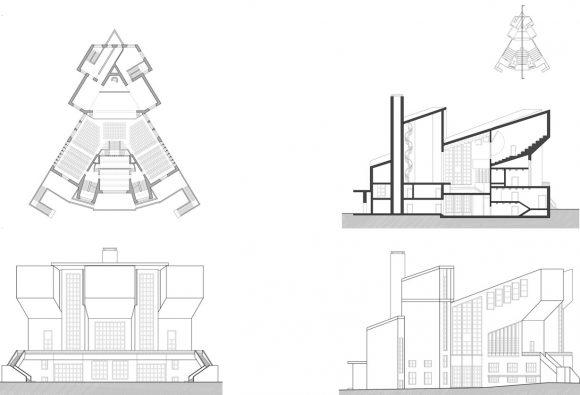 Figuras 13, 14, 15 y 16: Esquemas de planta, corte y alzados.