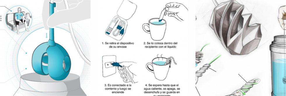 Muestra de diseño de piezas plásticas: dispositivos para calentar agua